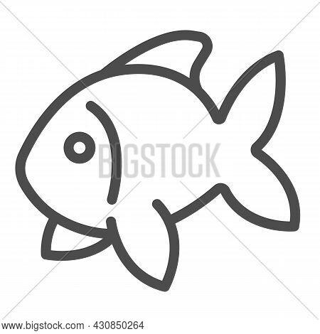 Fish, Goldfish, Aquarium Tropical Fish Line Icon, Sea Life Concept, Carp Vector Sign On White Backgr