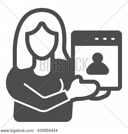 Woman Web Designer With Presentation Of Site Project Solid Icon, Ui Concept, Developer Vector Sign O