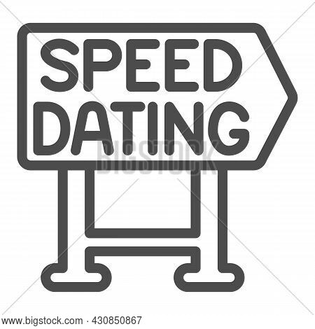 Speed Dating Signboard Pointer Emblem Line Icon, Dating Concept, Logo Vector Sign On White Backgroun