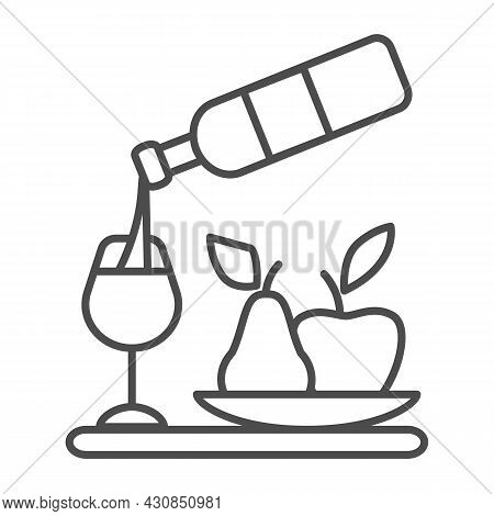 Wine Pouring, Bottle, Wineglass, Bowl Of Fruits Thin Line Icon, Catering Concept, Serving Vector Sig