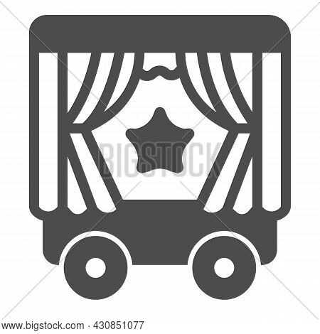 Mobile Puppet Wagon On Wheels, Star Solid Icon, Theater Concept, Puppet Theater Wagon Vector Sign On