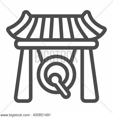 Japanese Gazebo, Gong And Wooden Roof Line Icon, Architecture Concept, Asian Povilion Vector Sign On
