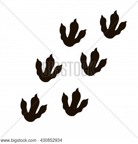 Dinosaur Foot, Reptile Track Silhouette In Cartoon Style Isolated On White Background. Symbol, Model