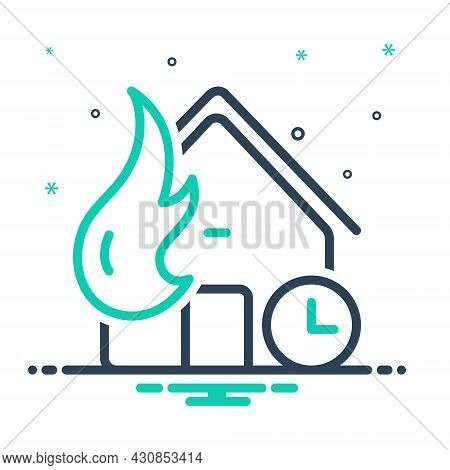 Mix Icon For Whenever At-any-time Any-time House Fire Disaster Mishap