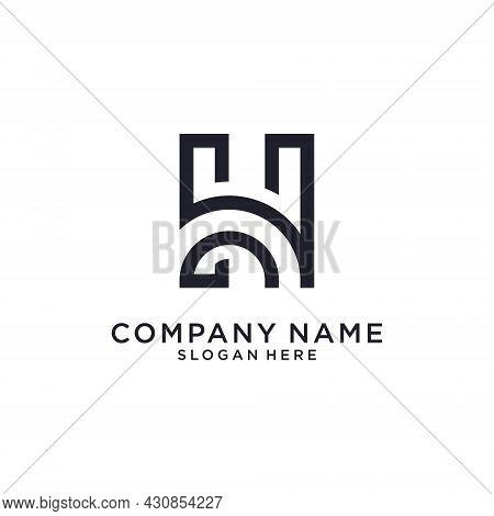 Initial Letter H Or Hh Logo Design Concept On White Background.
