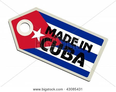 label with flag of Cuba