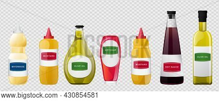 Big Sauce In Bottles Set. Soy, Olive Oil, Mustard, Ketchup And Mayonnaise Sauces. Condiment Elements