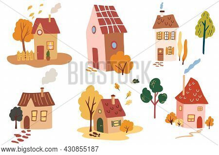 Various Cute Houses, Trees And Leaves. Cartoon Hand-drawn Set Of Cozy Small Town Houses With Smoke.