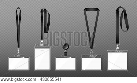 Badges On Lanyards With Lobster Clasp Or Hooks, Blank Id Cards In Transparent Plastic Cases Hang On