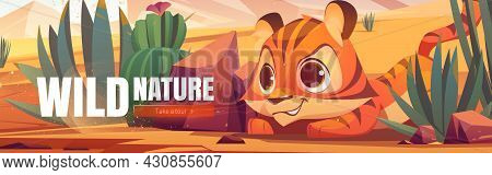 Wild Nature Cartoon Web Banner. Funny Tiger Cub Hunting In African Desert Natural Landscape. Baby Pr