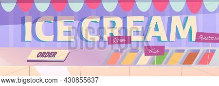 Ice Cream Cartoon Banner, Icecream Assortment For Buying On Weight On Street Booth Showcase With Can
