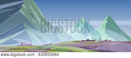 Mountain Landscape With Fog Cover Rocky Peaks. Cartoon Nature View With Green Grass On Foggy Rocks U