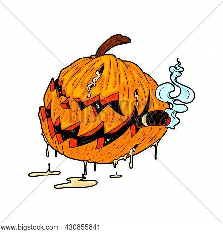 Cartoon Jack O Lantern Halloween Vector Illustration