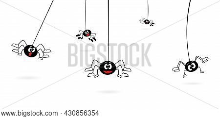 Cartoon Spiders Hanging On Web Spider. Vector Illustration Isolated On White Background
