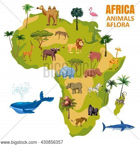 Africa Animal World Map Continent. Set Tropical Animals Flora Wild Savannah Jungle Fauna. Vector Car
