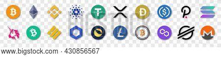 Set Of Cryptocurrency Icons. Bitcoin, Ethereum, Binance, Tether, Xrp, Polkadot, Cardano, Uniswap, Li