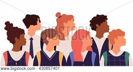 Collection Of Schoolchildren.group Of Schoolchildren In School Uniform And Backpacks Of Different Et