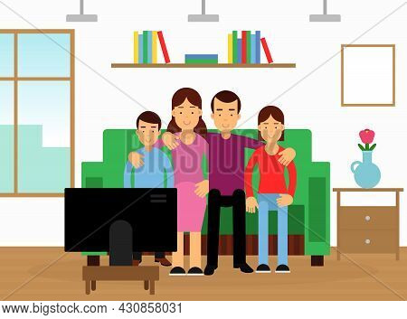 Happy Family With Mother, Father And Kids On Sofa Watching Tv Together Vector Illustration