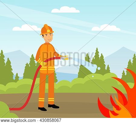 Firefighter In Orange Uniform And Protective Helmet With Hose Extinguishing Fire Vector Illustration