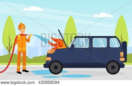 Firefighter In Orange Uniform And Protective Helmet With Hose Extinguishing Fire In Car Engine Vecto