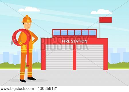 Firefighter In Orange Uniform And Protective Helmet With Hose Near Fire Station Vector Illustration