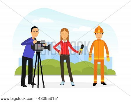 Firefighter In Orange Uniform And Protective Helmet Doing Interview In Camera Vector Illustration