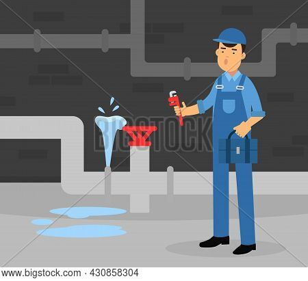 Young Man Plumber Wearing Blue Uniform Fixing Tubes And Pipe Lines Vector Illustration