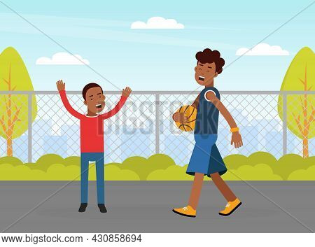 Young Man With Boy Playing Basketball Doing Sport And Physical Exercise Vector Illustration