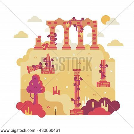 Square Picture With Ancient Columns And Walls Of The Ruined City - Vector Cartoon Illustration In Fl