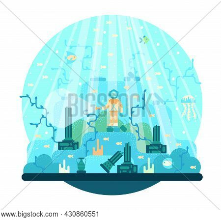 The Explorer Of The Deep Sea Is Looking For The Remains Of An Ancient Civilization - Vector Cartoon