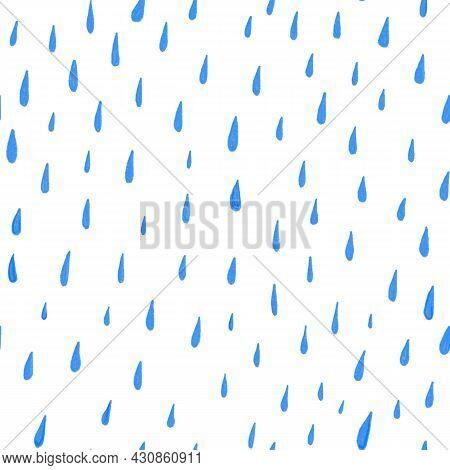 Seamless Pattern Watercolor Messy Blue Raindrops On White Background. Watercolor Raindrop Seamless P