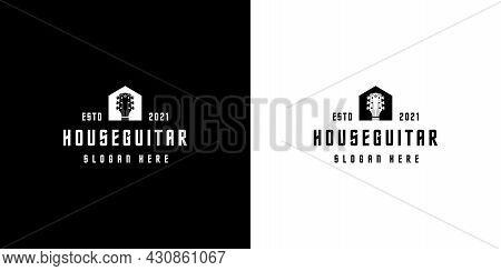 House Guitar Logo Design Vector Silhouette Design