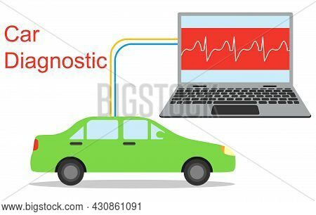 Diagnostics Of Car Malfunctions. Computer Diagnostics Of A Car. Vector, Cartoon Illustration. Vector