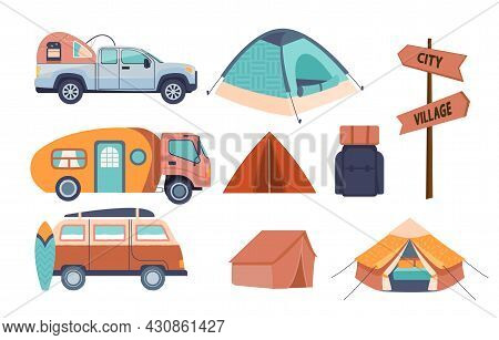 Colored Icons Of Things For Camp. Several Cars, As Well As Tent And Signpost. Icons For Site. Graphi