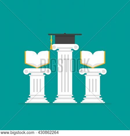 Greek Column With Mortar Board And Books. Antique Pillar And Graduation Toga Cap. Law Education Symb