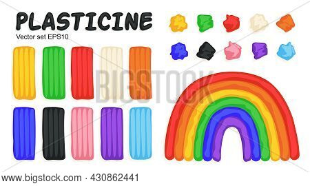 Kids Modeling Clay, Colorful Plasticine Set With Bricks, Pieces And Rainbow. Art Process, Creative W