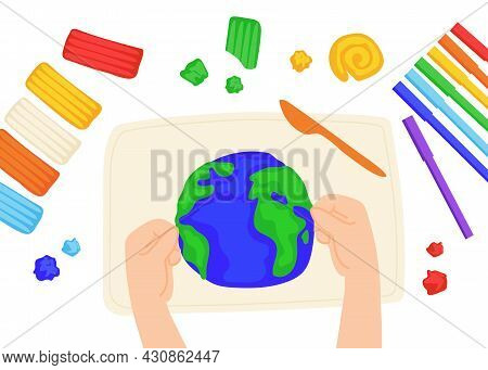 Kid Sculpts Planet Earth With Plasticine, Modelling Clay Tools, Board And Knife, Colorful Markers, A