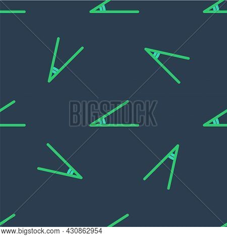 Line Acute Angle Of 45 Degrees Icon Isolated Seamless Pattern On Blue Background. Vector
