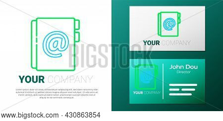 Line Address Book Icon Isolated On White Background. Notebook, Address, Contact, Directory, Phone, T