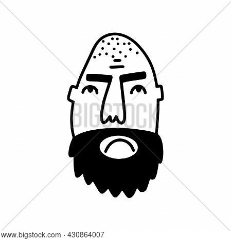 Doodle Bearded Man Face. Hand-drawn Outline Human Isolated On White Background. Funny Gloomy Avatar.