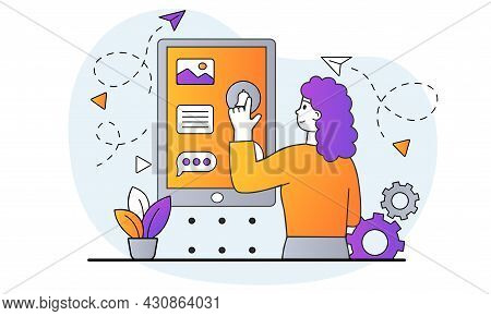 Development Of Ui Design Concept. Woman Comes Up With And Creates Visual Part Of Application On Smar
