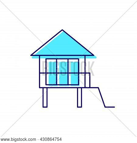 Water Bungalow On Stilt Outline Icon. Maldivian House. Exotic Vacation. Tropical Resort. Color Fille