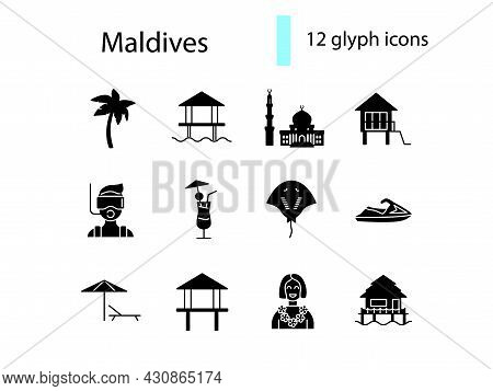 Maldives Attributes Glyph Icons Set. Jet Ski And Diving. Water Bungalow, Palm. Stingray And Beach Um