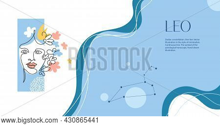 Zodiac Background. Leo Constellation. The Element Of Fire. Horizontal Banner. One Line. Minimalistic