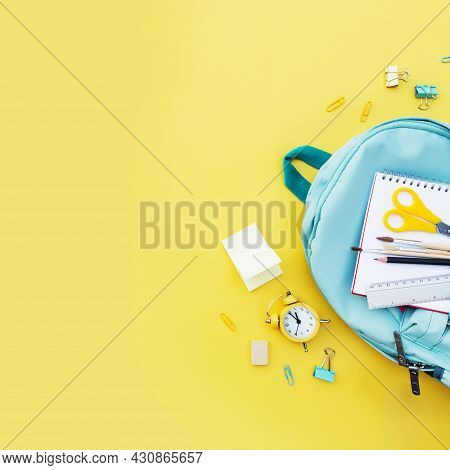Back To School Conceptual Flat Lay With Different Office Supply Items And Copy Space Area For Text.