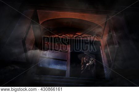 Halloween Witch Holding A Skull Standing In Old Ancient Window Castle, Halloween Mystery Concept