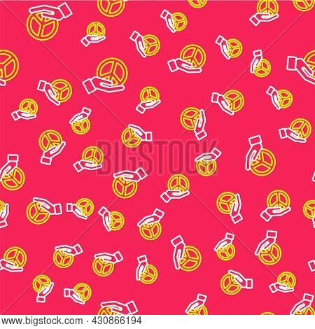 Line Peace Icon Isolated Seamless Pattern On Red Background. Hippie Symbol Of Peace. Vector