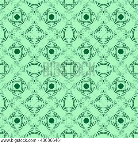 Color Geometric Pattern For Print, Textile On Green. Fashion Graphic Design. Modern Stylish Texture.