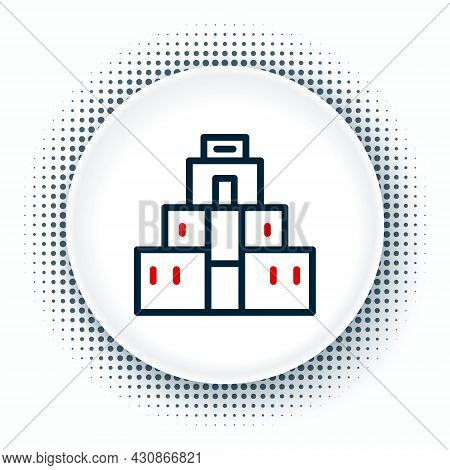 Line Chichen Itza In Mayan Icon Isolated On White Background. Ancient Mayan Pyramid. Famous Monument