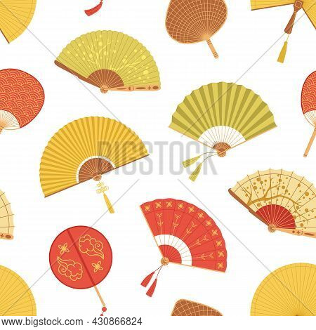 Seamless Asian Pattern With Japanese Folding Paper Hand Fans On White Background. Endless Repeatable
